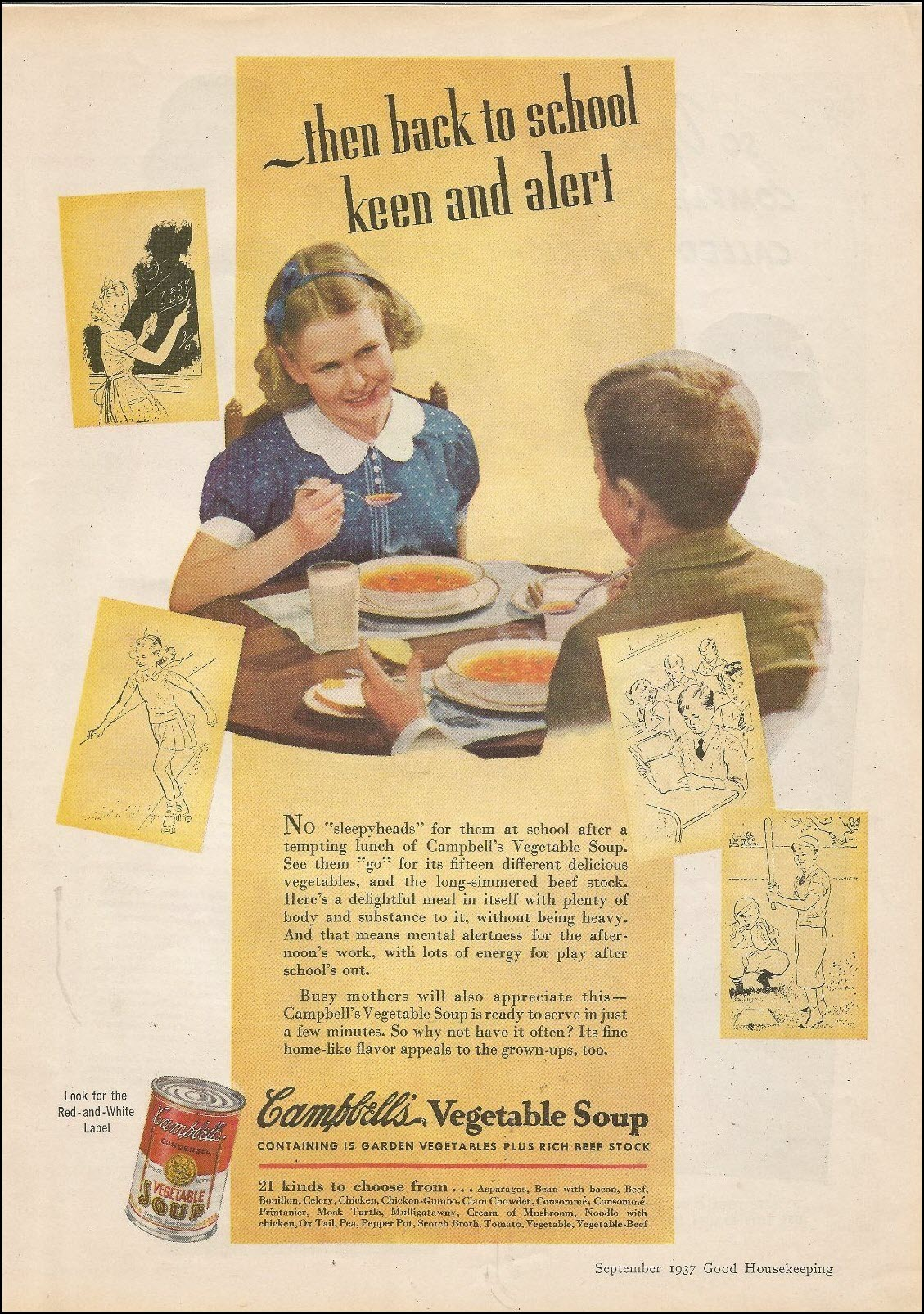 Vintage back-to-school advertisement: Campbell's, 1937