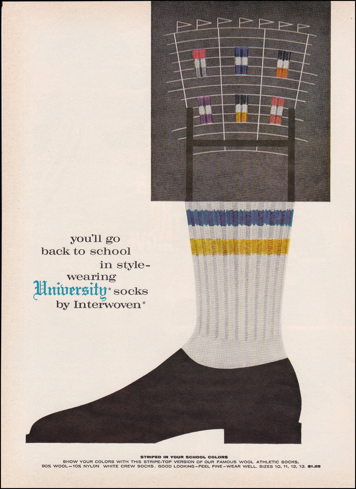 Vintage back-to-school advertisement: Interwoven, 1960