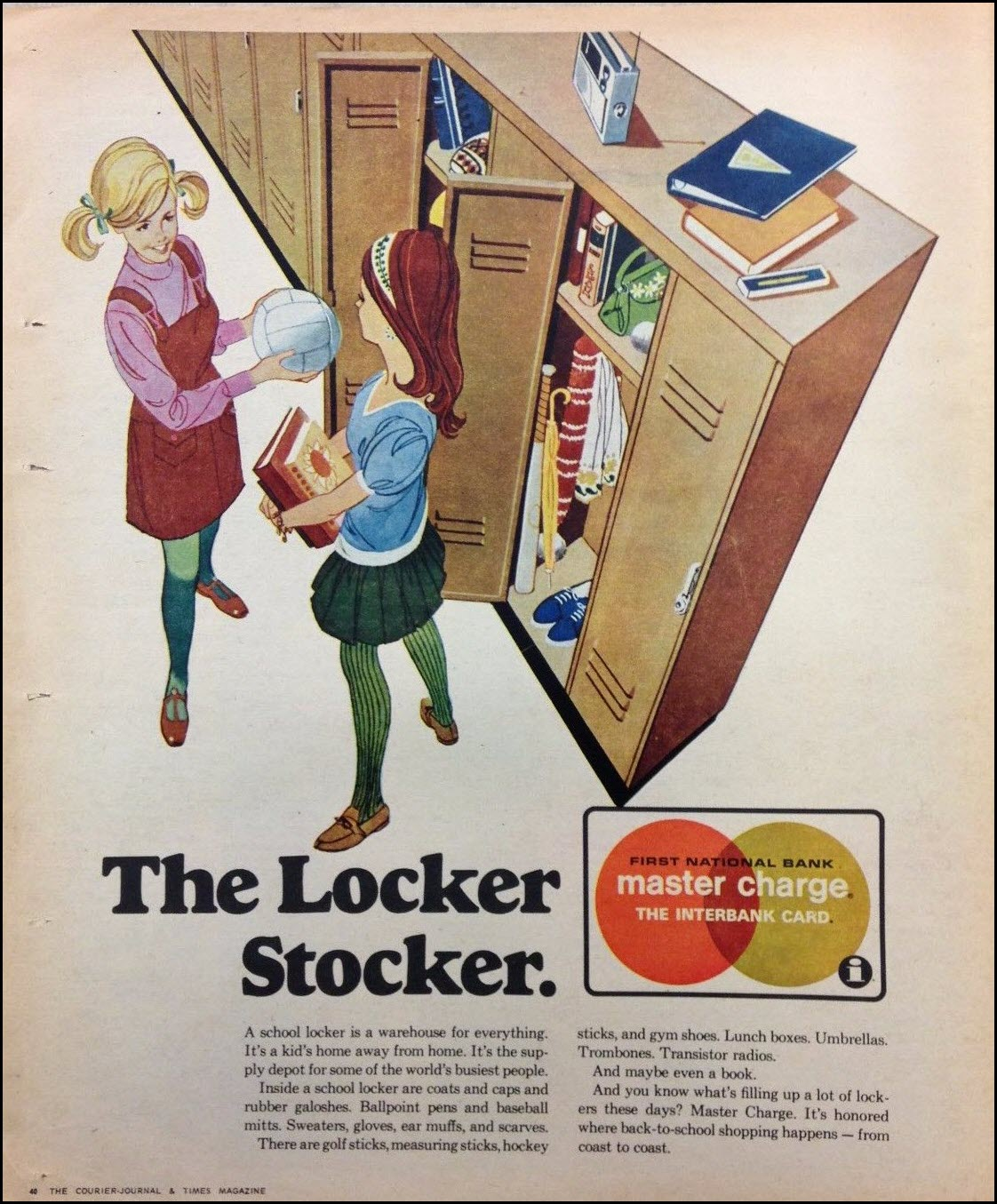 Vintage back-to-school advertisement: Mastercharge, 1969