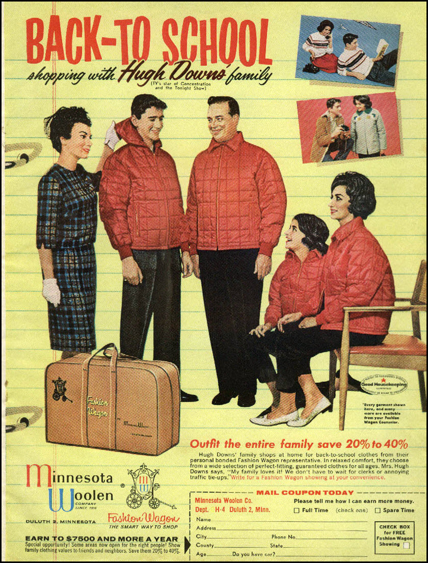 Vintage back-to-school advertisement: Minnesota Woven, 1962
