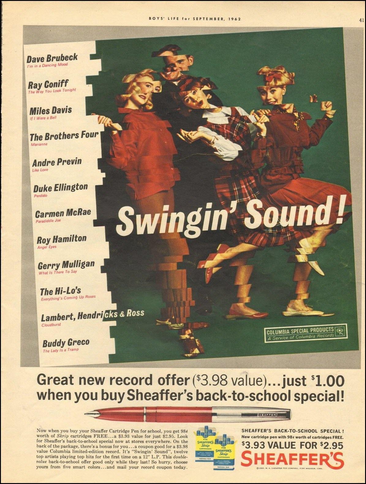 Vintage back-to-school advertisement: Sheaffer's, 1962