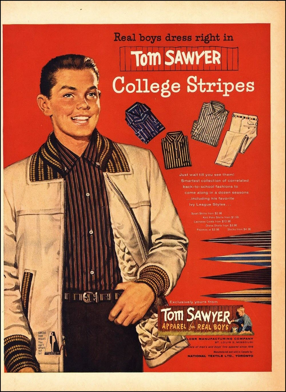 Vintage back-to-school advertisement: Tom Sawyer, 1957