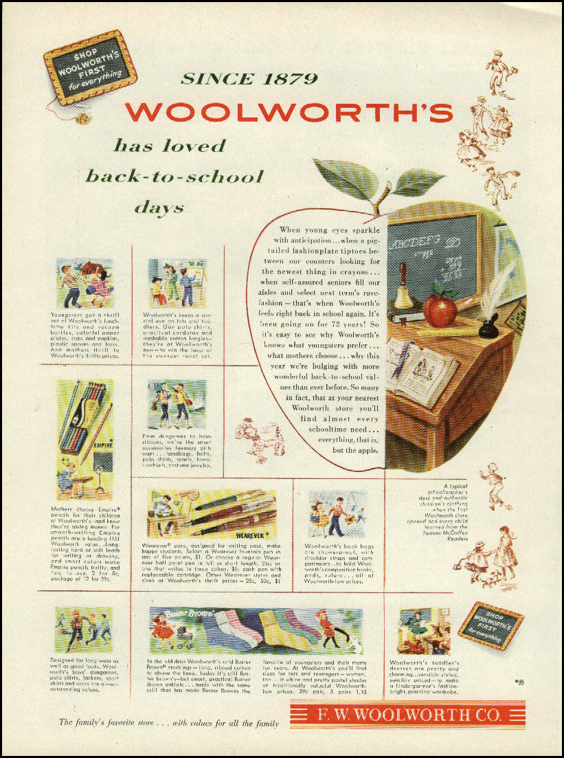 Vintage back-to-school advertisement: Woolworth's, 1951
