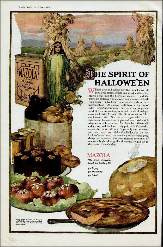 Vintage Halloween ad (Mazola Oil, 1920)