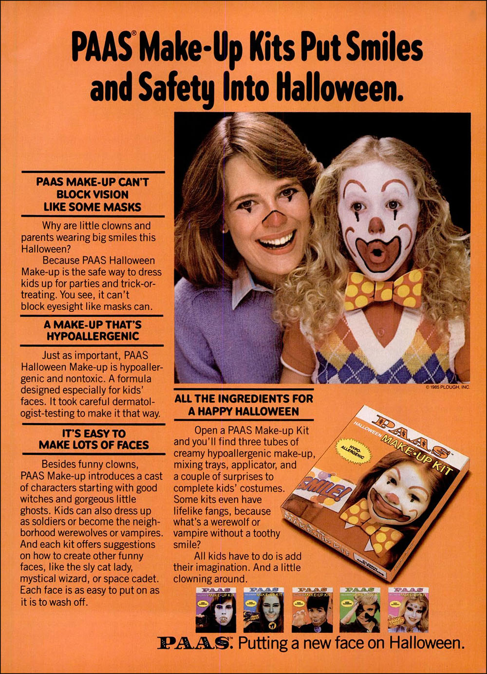 Vintage Halloween ad (PAAS Make-Up Kits, 1986)