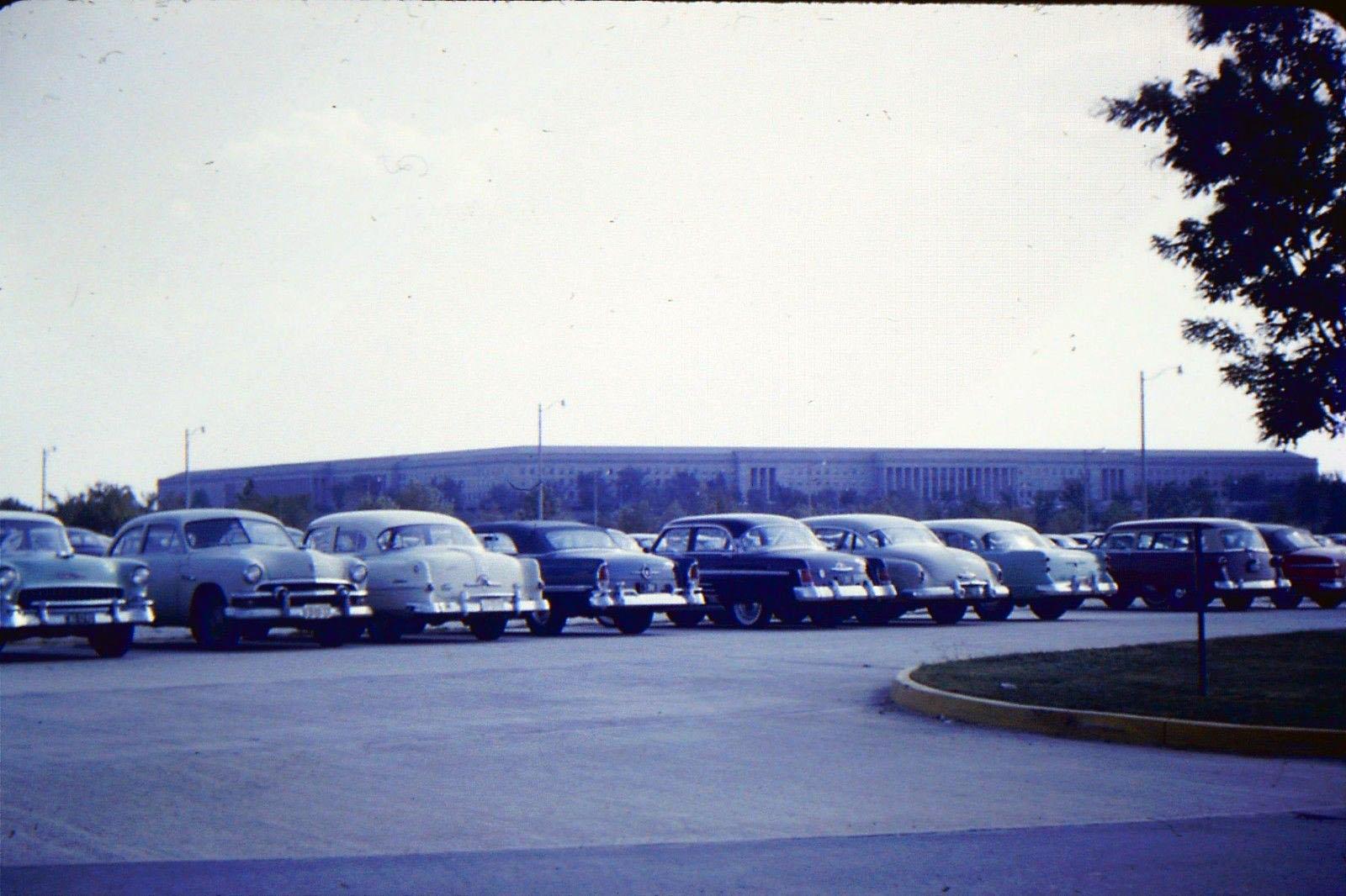 Kodachrome Memories #5: Parking Lot at the Pentagon, Late 1940s(?)