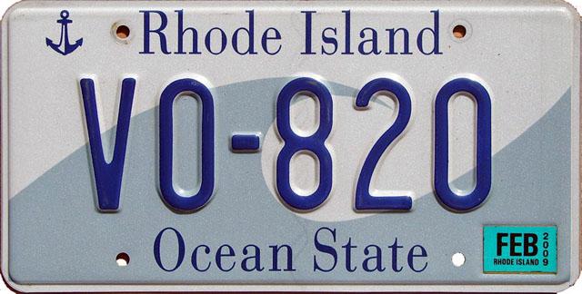 Rhode Island U.S. license plate