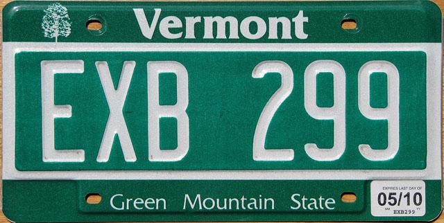 Vermont U.S. license plate