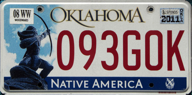 Oklahoma U.S. license plate