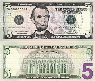 New, colorful 5-dollar bill (Abe Lincoln)