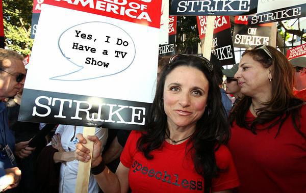 Julia Louis Dreyfus at the WGA writer's strike picket line
