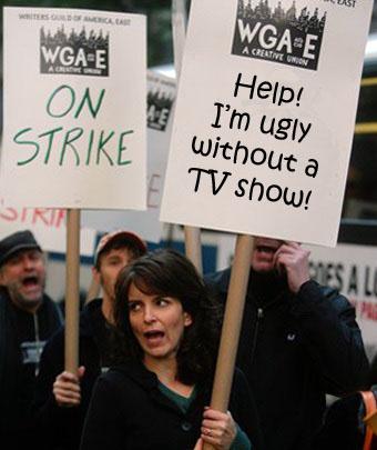 Tina Fey at the WGA writer's strike picket line