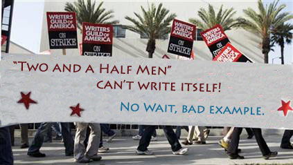 Two and a Half Men writers at the WGA writer's strike picket line