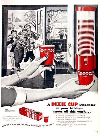 Dixie Cups ad, 1954