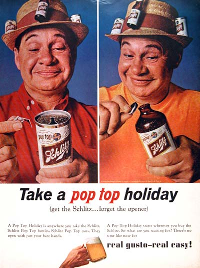 Schlitz pop-top beer ad, 1964
