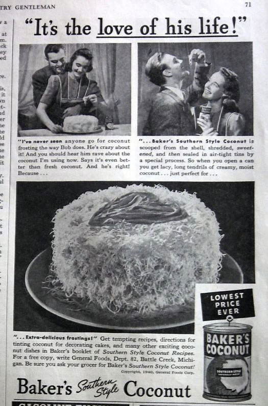 Baker's Coconut, 1940