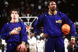 John Stockton and Karl Malone of the Utah Jazz