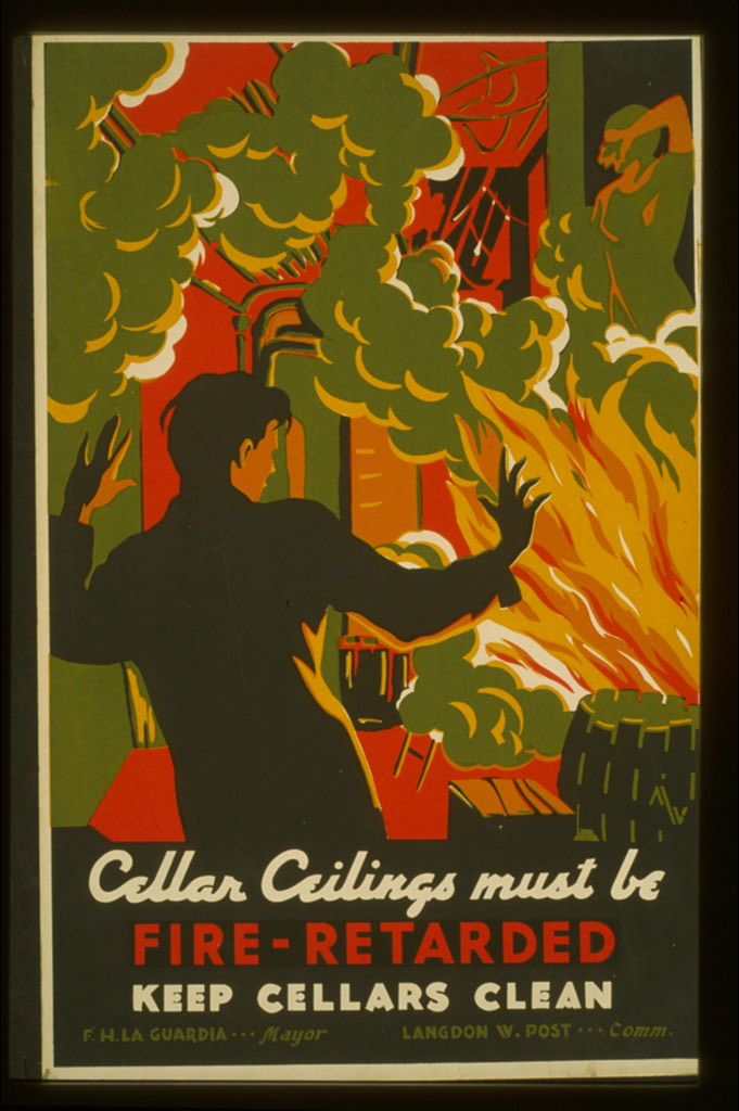 Cellar ceilings must be fire-retarded : Keep cellars clean - WPA Poster