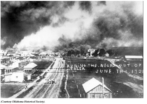 """Running the Negro Out"" image from the Tulsa Race Riots"