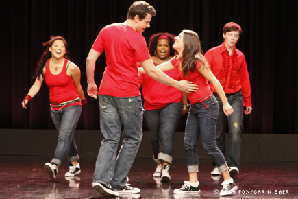 The cast of Fox's Glee, singing