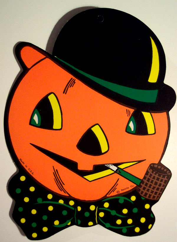 Jack-o-lantern with pipe and bowler derby - (Vintage Beistle Halloween Decoration)