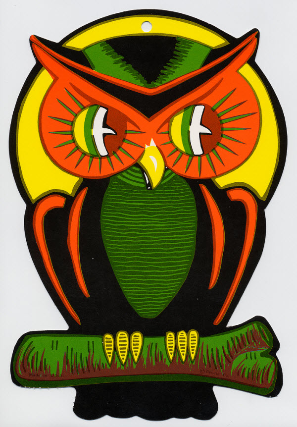 Creepy owl - (Vintage Beistle Halloween Decoration)