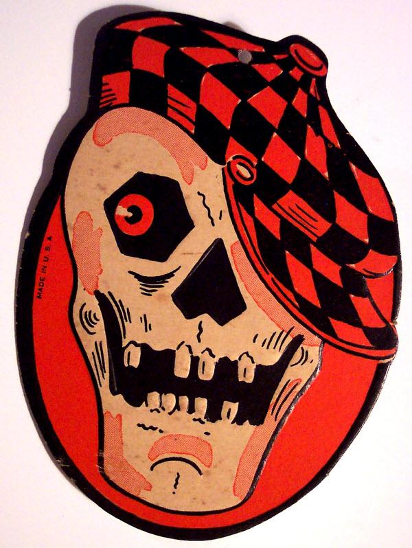 Skull with jaunty cap - (Vintage Beistle Halloween Decoration)