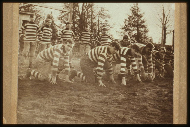 Thirteen young men in football uniforms, Paterson, N.J., ca. 1909.