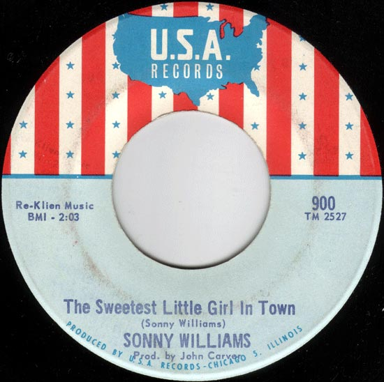 """The Sweetest Little Girl in Town"", Sonny Williams - U.S.A. Records"