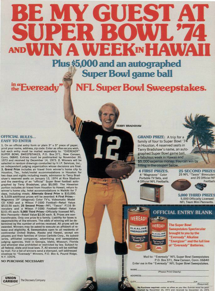 Eveready batteries Super Bowl contest ad with Terry Bradshaw, 1973