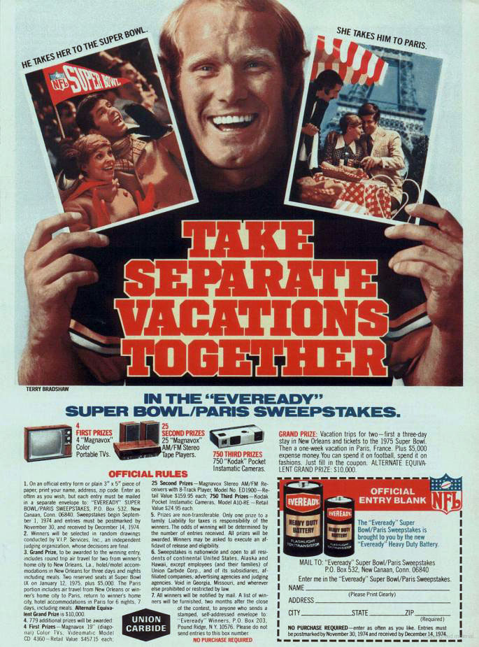 Eveready batteries Super Bowl contest ad with Terry Bradshaw, 1974