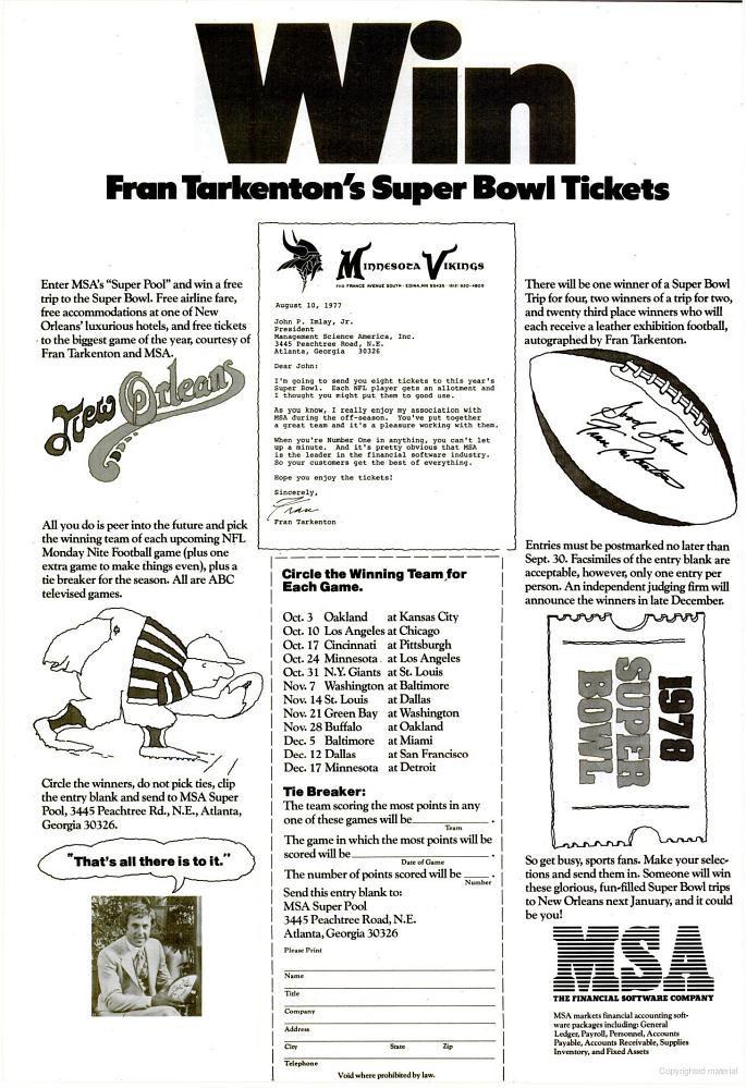 MSA Super Bowl Fran Tarkenton advertisement - 1977