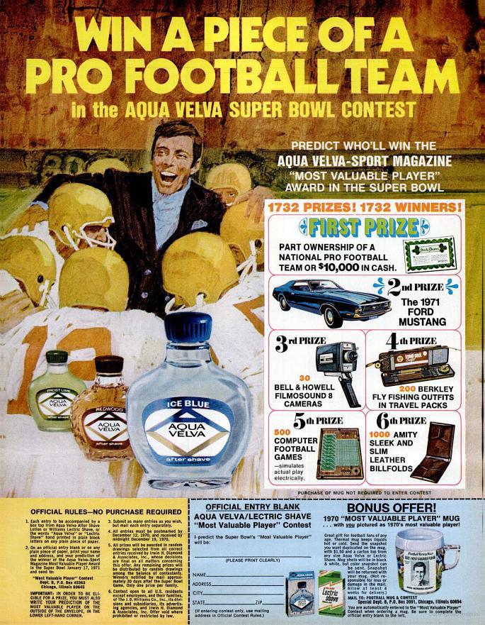 Aqua Velva Super Bowl advertisement - 1970