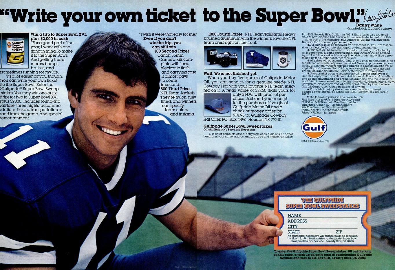 Gulf Danny White Super Bowl advertisement - 1981
