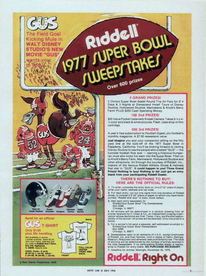 Riddell & Gus Super Bowl advertisement - 1976
