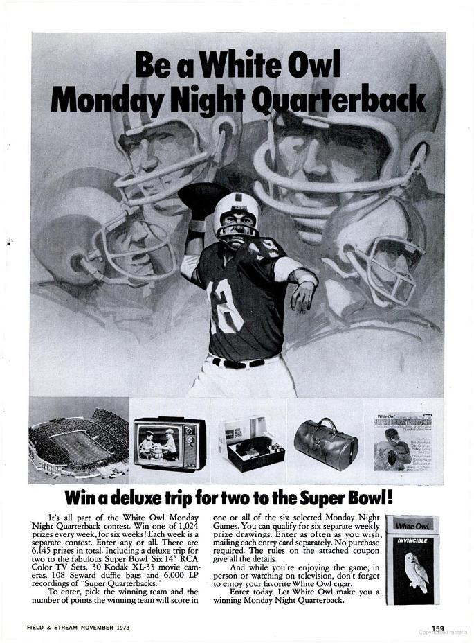White Owl Super Bowl advertisement - 1973