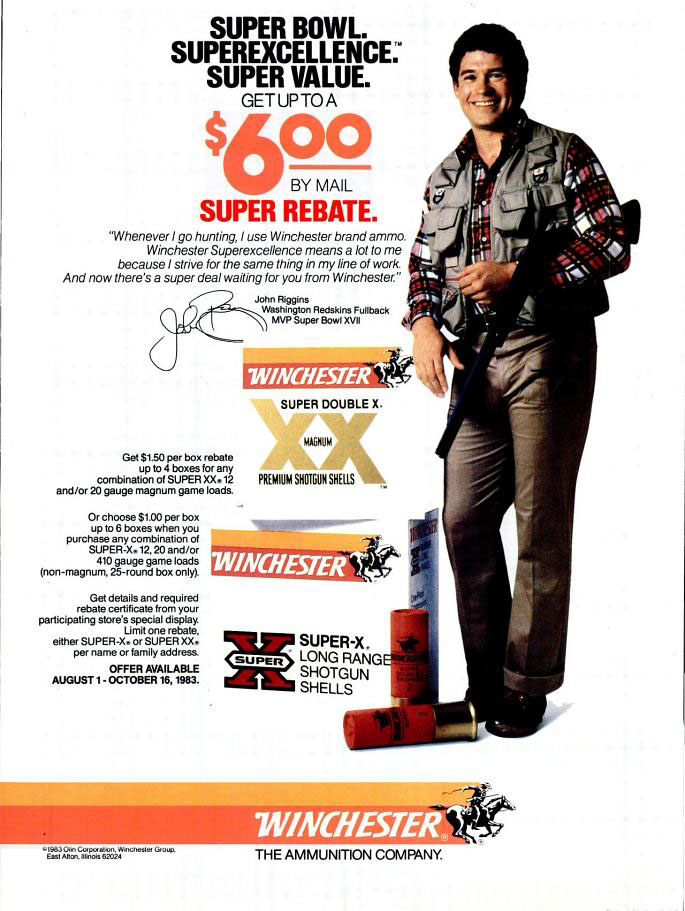 Winchester ammo John Riggins advertisement - 1983