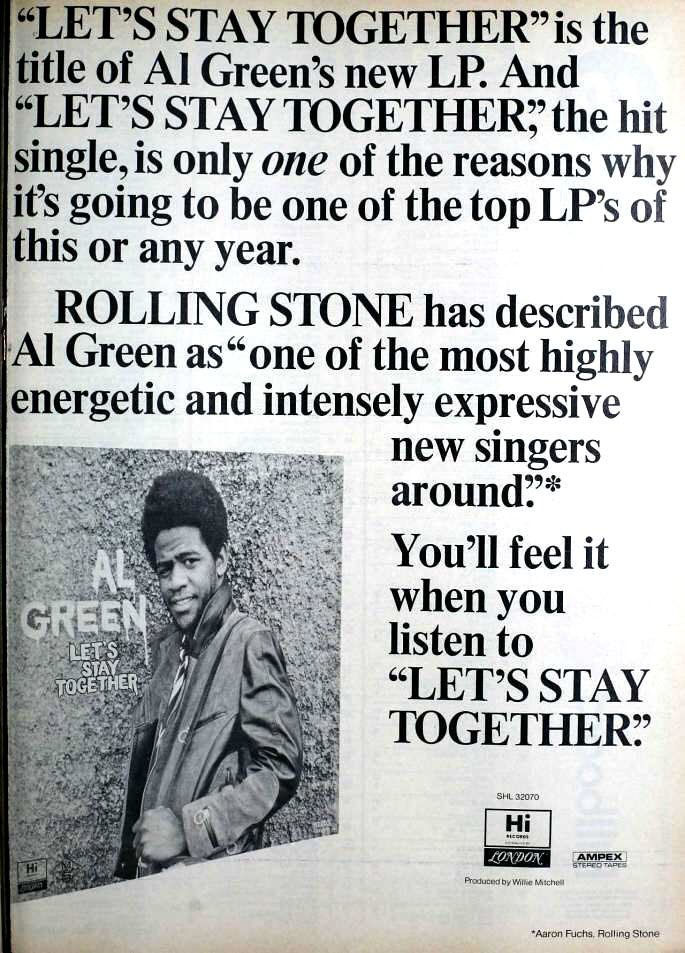 "1972 Billboard magazine ad (Al Green, ""Let's Stay Together"")"
