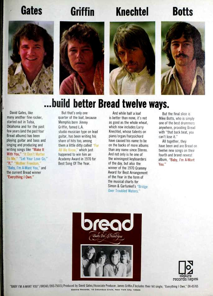 "1972 Billboard magazine ad (Bread, ""Baby I'm-a Want You"")"