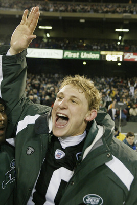 Chad Pennington celebrates winning AFC East championship