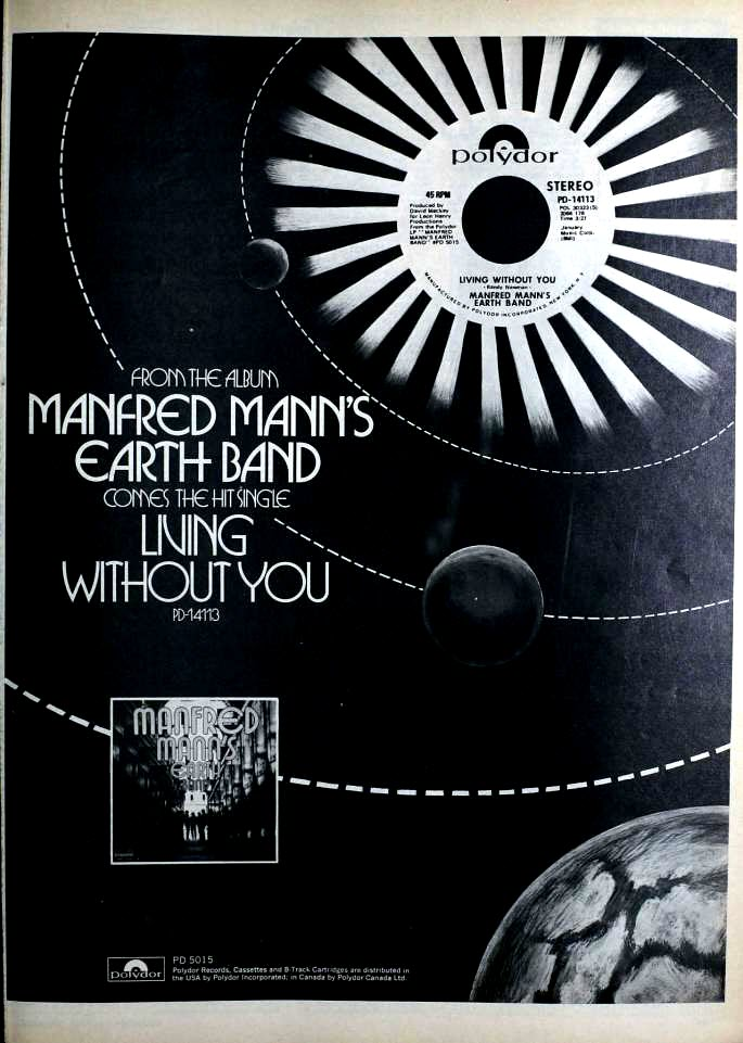 "1972 Billboard magazine ad (Manfred Mann's Earth Band, ""Living Without You"")"