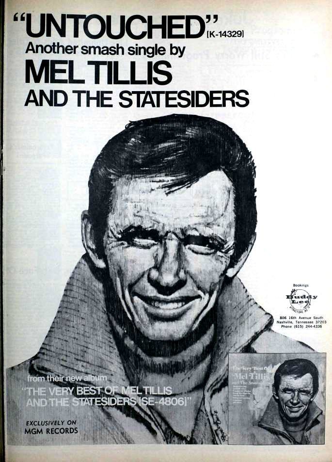 "1972 Billboard magazine ad (Mel Tillis and the Statesiders, ""Untouched"")"