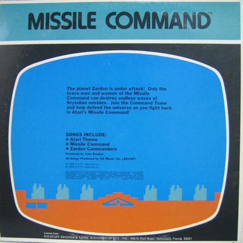 Missile Command album cover (1982) - Kid Stuff Records