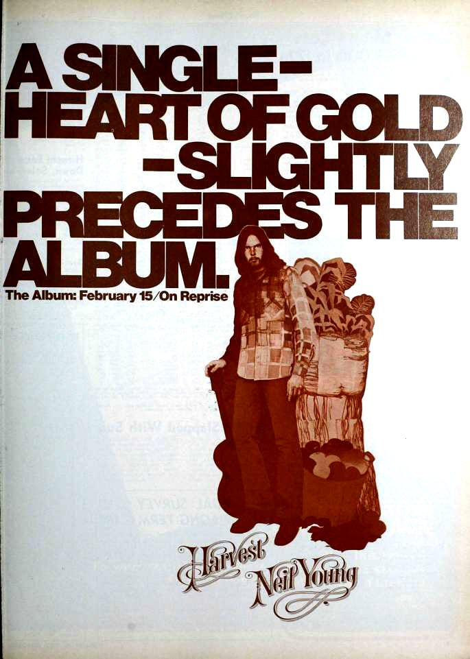 "1972 Billboard magazine ad (Neil Young, ""Heart of Gold"")"