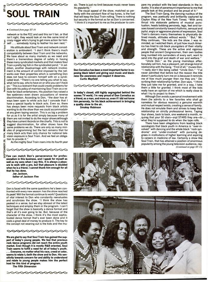 'Soul Train'/Don Cornelius Billboard magazine spotlight - September 28, 1974