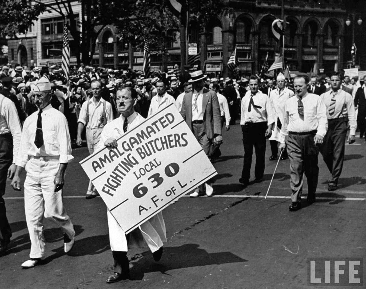 Units of the American Federation of Labor marching in the Labor Day Parade.