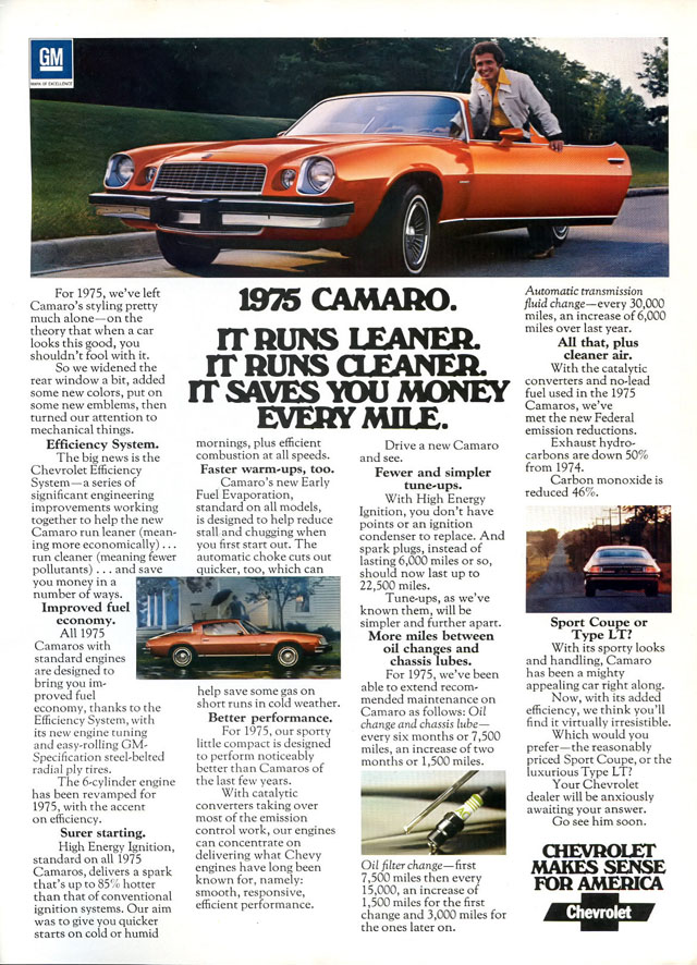 1975 Chevy Camaro ad