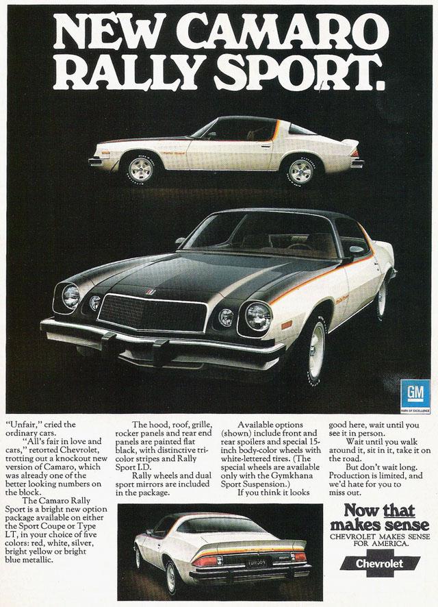 1975 Chevrolet Camaro Rally Sport ad