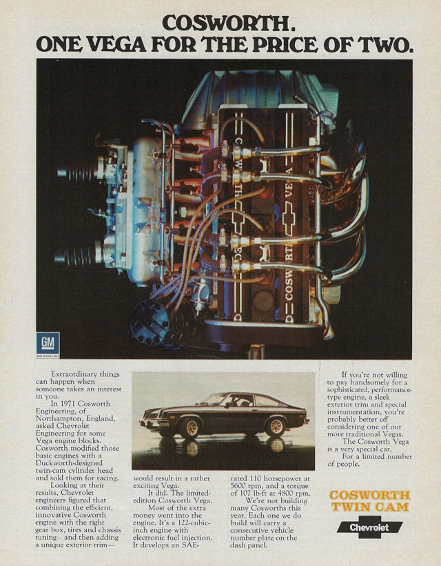 1975 Chevy Cosworth Vega ad
