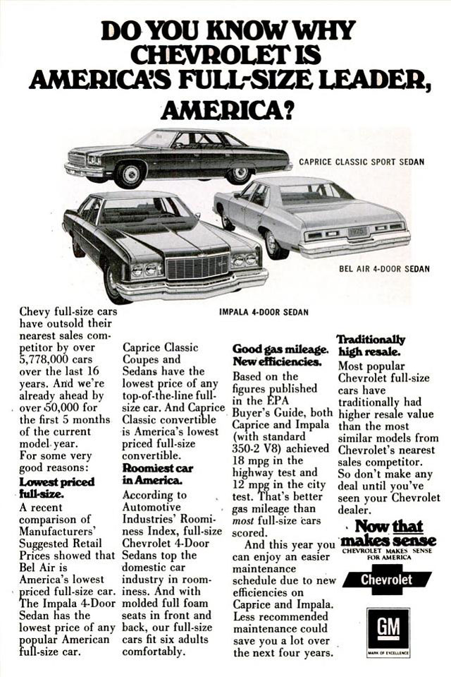 1975 Chevrolet Full-Size Cars Ad